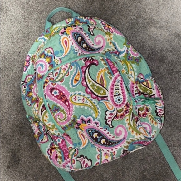 Vera Bradley Mint Green Paisley Quilted Backpack